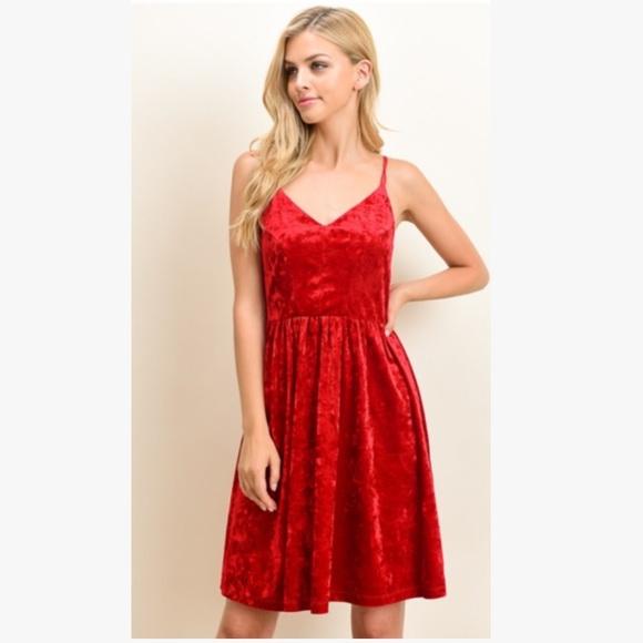 0363717a0a8 Le Lis Red Velvet Dress